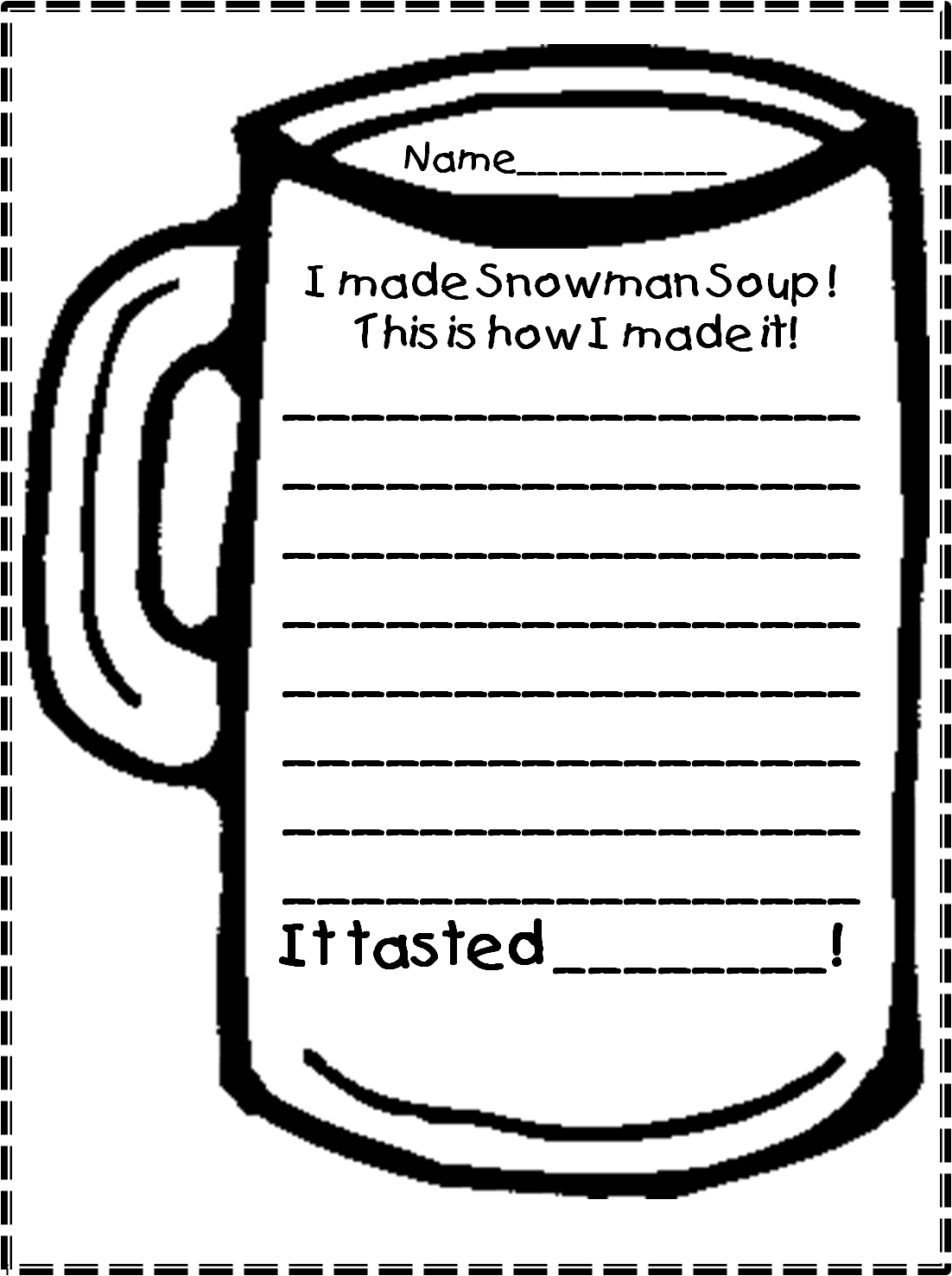 Snowman Writing Template Snowman soup and marshmallow