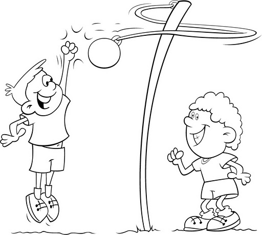 Niños jugando para colorear - Dibujo Views