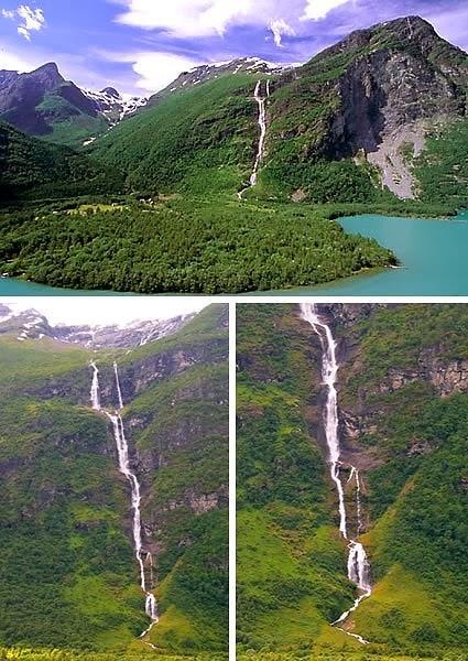 يقع شلال Ramnefjellsfossen  في مقاطعة سوغن أوغ فيوردان في بلدة سترين، في النرويج ، وفيه طول القطرة 1،968 قدم (600 متر). ومع ذلك، فإن الارتفاع الكلي هو 2،685 قدم (818 متر). بسبب التدفق القليل من المياه القادمة من Jostedal الجليدي، ويستخدم لأغراض توليد الطاقة الكهرومائية، على عكس غيره من الشلالات في النرويج.