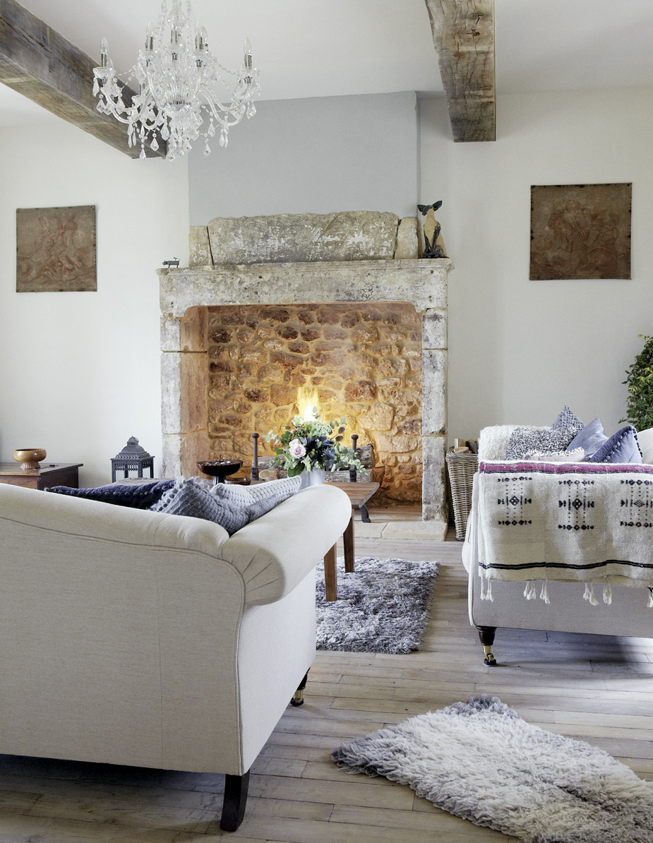 Roses and rust french farmhouse for French country stone fireplace