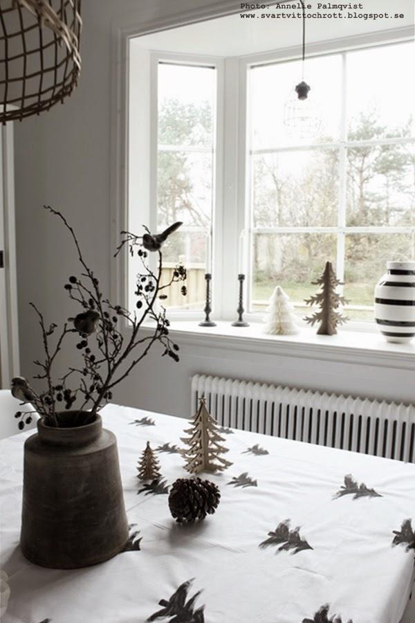 diy jul, julen 2014 inredning, inspiration, pyssel, måla med textilfärg, panduro, trägranar, kvistar med fåglar, urna, jul