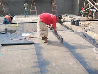 waterproofing membrane bakar di lantai basement