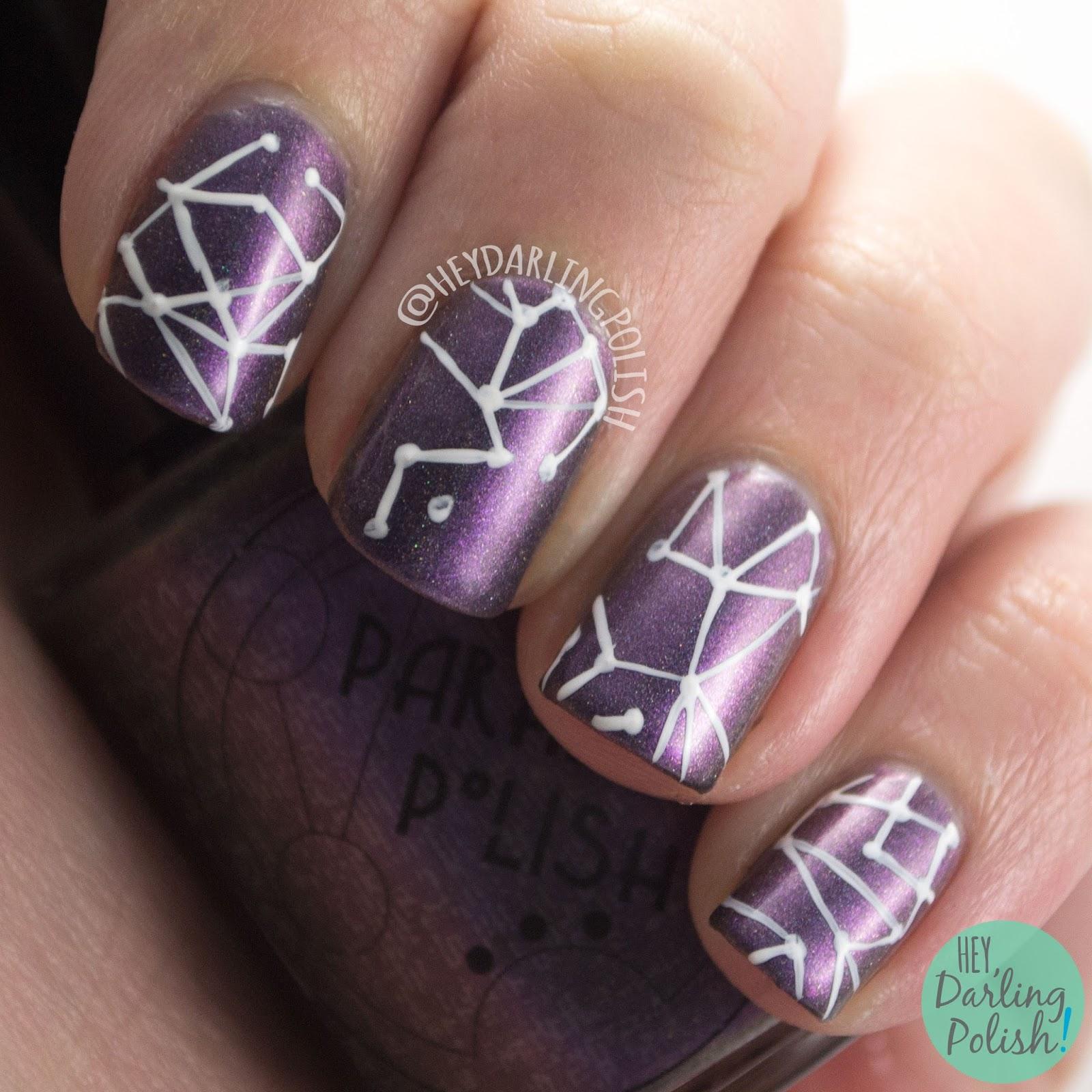marilee, holo, lines, nails, nail art, nail polish, indie, indie polish, indie nail polish, hey darling polish, parallax polish,