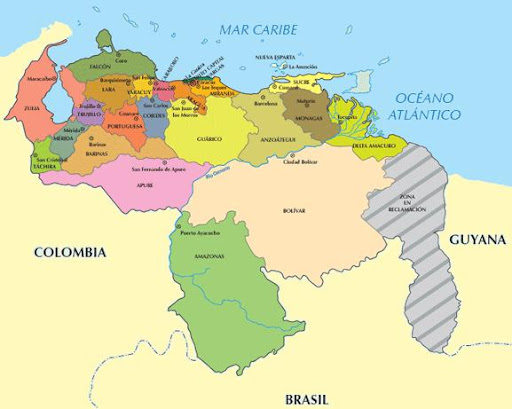 mapa de venezuela con sus capitales