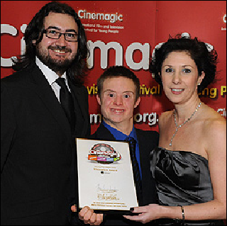 Connor Rathbone with Cinemagic's Sean Boyle  and Susie McCullough from NITB