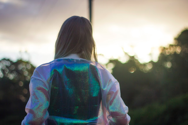 fashion blog bomber jacket sheer white iridescent