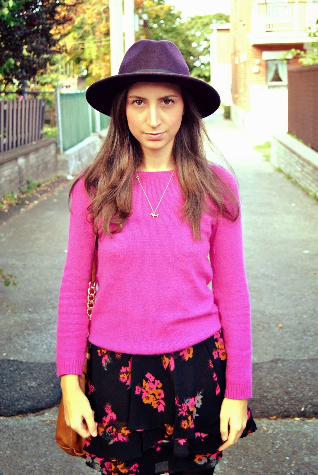 pink sweater floral skirt purple eggplant hat fall fashion