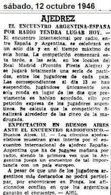 Recorte sobre ajedrez del diario ABC de Madrid, del 12 de octubre de 1946
