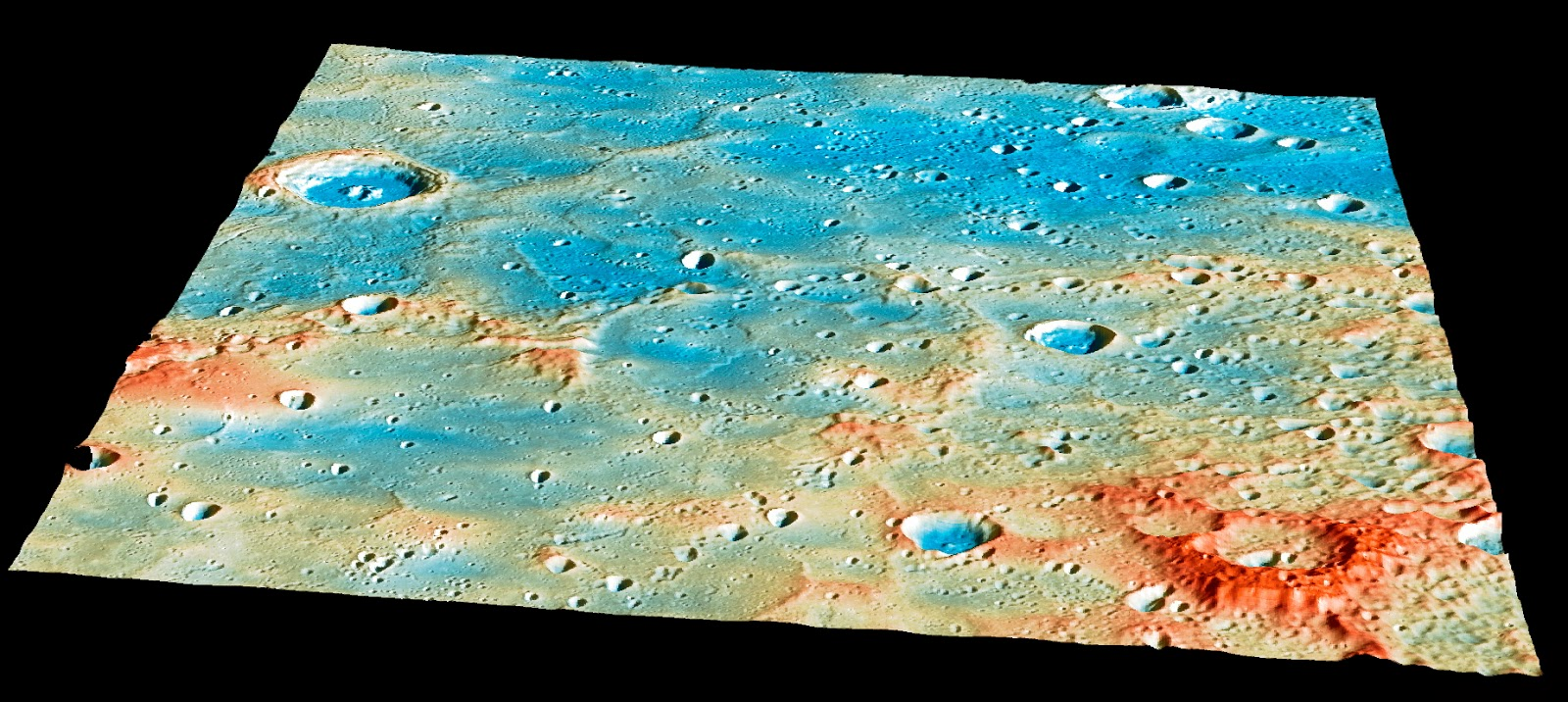 Overview of the MESSENGER's impact region. Credit: NASA/Johns Hopkins University Applied Physics Laboratory/Carnegie Institution of Washington