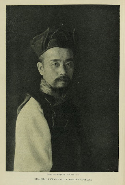 "Japanese Buddhist monk Ekai Kawaguchi (1866–1945). Illustration in ""Metropolitan Magazine"", Vol. LXVII, no. 3 (Jan. 1904), p. 384, accompanying Kawaguchi's article ""The Latest News from Lhasa: A Narrative of Personal Adventure in Tibet,"" from a photograph by Zaida Ben-Yusuf, 1904"