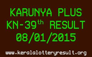 KARUNYA PLUS Lottery KN-39 Result 08-01-2015