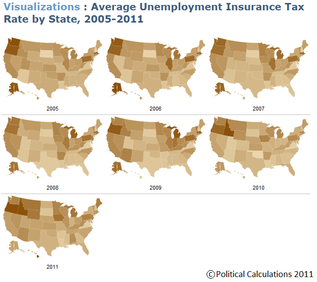 Average Unemployment Insurance Tax Rates by State, 2005-2011