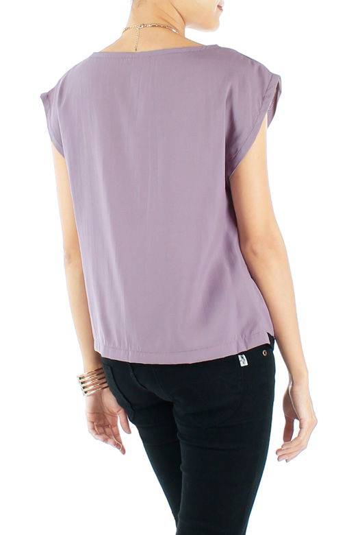 Lilac Purple Dart Colour Block Shell Top