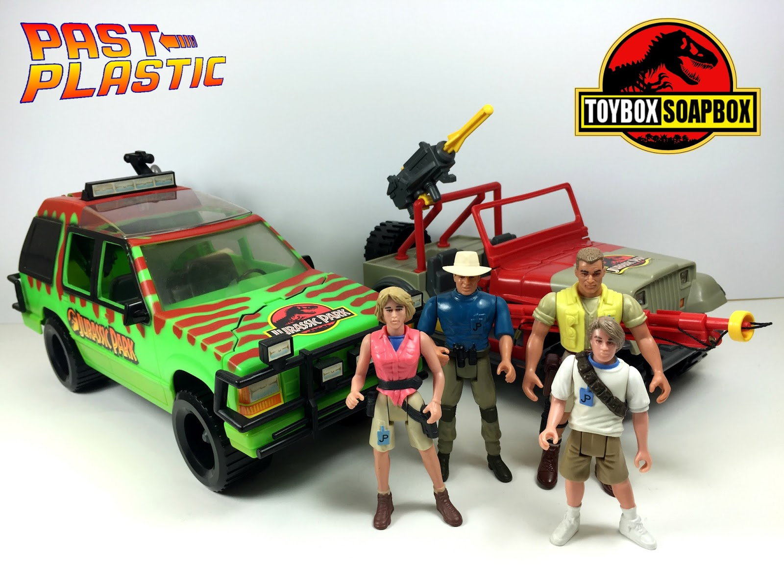 Past Plastic Kenner Jurassic Park on figure 8 race cars