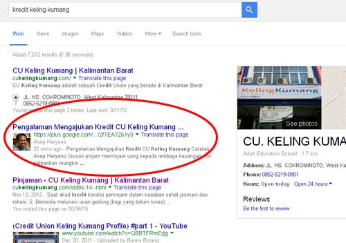 """Sempat nomor masuk nomor 2 urutan Google dengan keyword """"kredit keling kumang"""""""