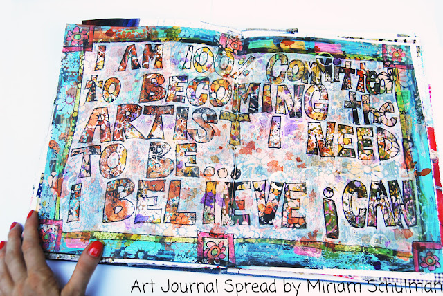 art journal inspiration and tutorial on http://schulmanart.blogspot.com/2015/07/black-gesso-proceso.html