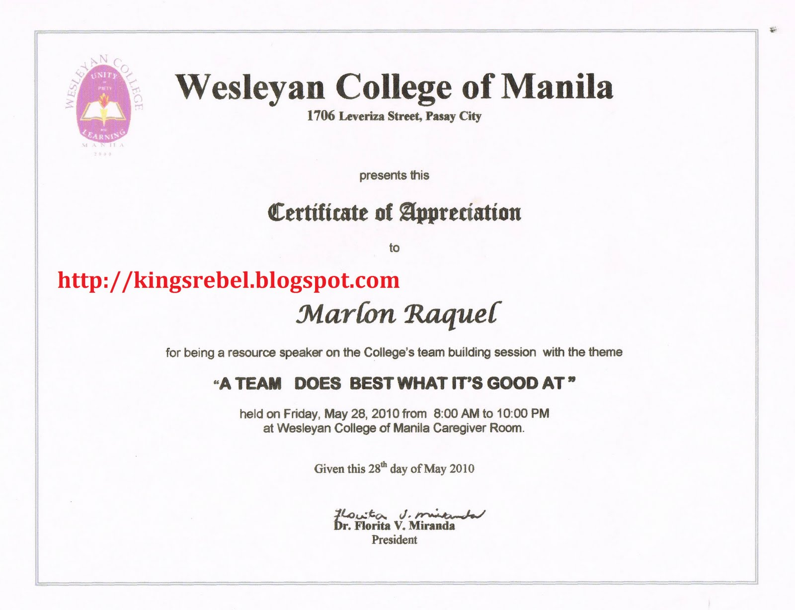 Examples of Certificate of Appreciation http://kingsrebel.blogspot.com/2011/02/example-of-certificate-of-appreciation_16.html