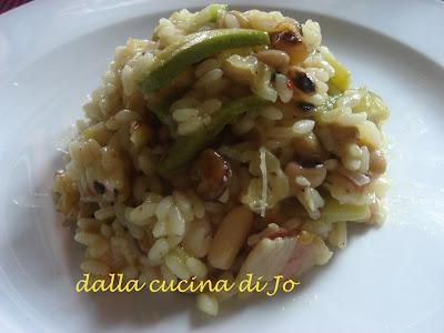 risotto con legumi, zucchinette e pancetta