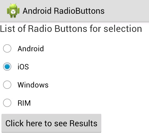 Android Radio Button example