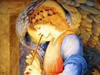 Edward Burne Jones,  un ange jouant de la flûte à bec