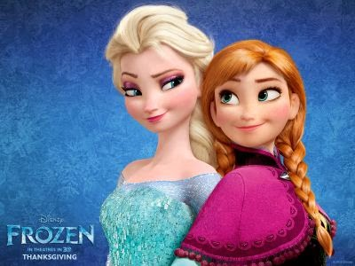 A picture of Anna and Elsa from Frozen standing back to back