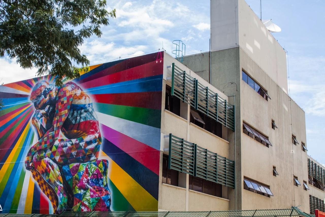 """The Thinker"" a new Street Art piece by Eduardo Kobra on the streets of Sao Paulo, Brazil. 4"