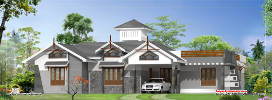 Modern Single Floor House Plan - 2630 Sq. Ft. (244 Sq. Ft.) (292 Square Yards) - March 2012