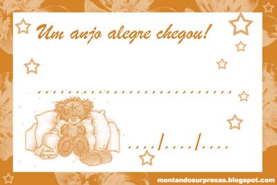 Cartão para lembrancinha da visita do bebê