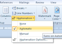 Automatic Hyphenation (memotong suatu kata secara otomatis)