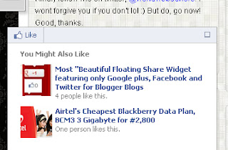 Facebook Recommendation Bar to blogger