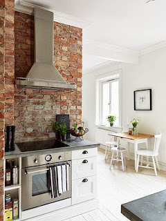 Kitchen with a brick wall