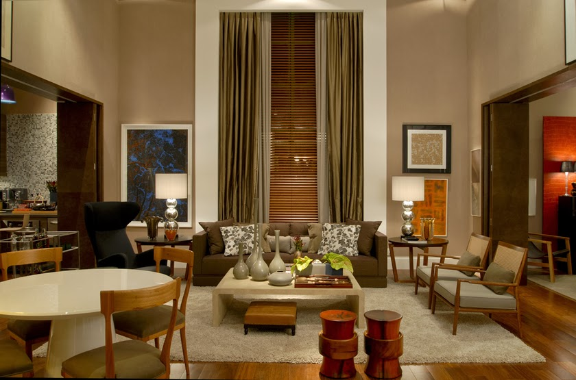decoracao de interiores cortinas para sala:Casa com pé direito duplo – como decorar? Veja dicas e modelos
