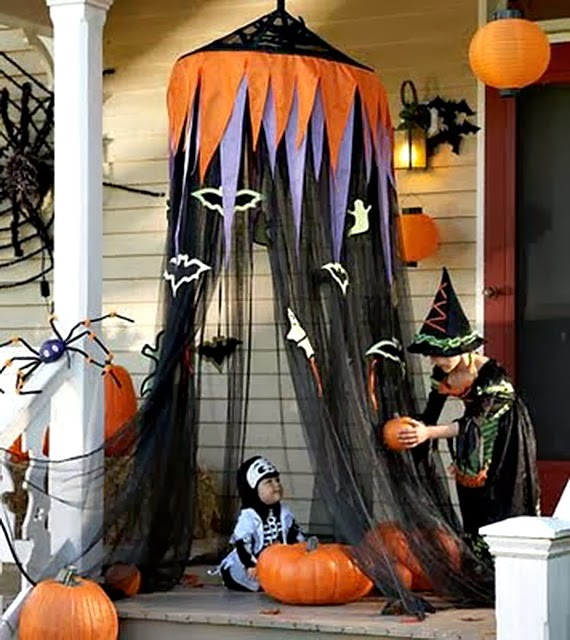 Front Porch Halloween Decoration Ideas Littlepieceofme Tower Of Terrifying  Pumpkins The Domestic Curator Fun Outdoor Halloween Decor ...