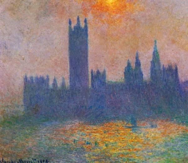Claude Monet Londres, le Parlement, effet de soleil dans le brouillard.