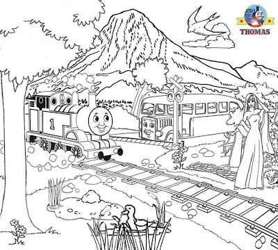 Red Bertie bus and Thomas the train coloring pages for kids printable pictures to paint or color in