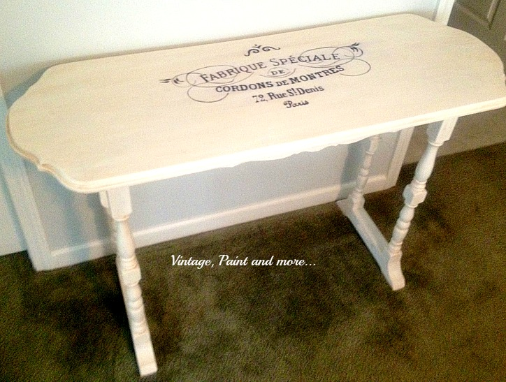 Vintage, Paint and more... French stenciling on table, white painted furniture, diy chalk painted furniture