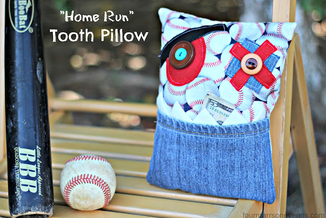 "Baseball Tooth Pillow: ""Home Run""  #toothpillow #sewing"