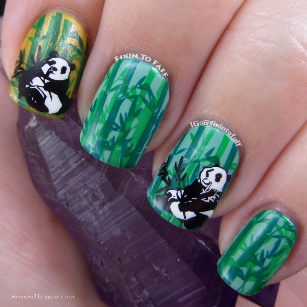 Double-stamped green bamboo forest nail art with panda decal.