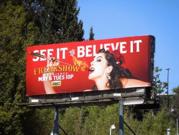 Freakshow season 2 Asia Ray fire-eater billboard