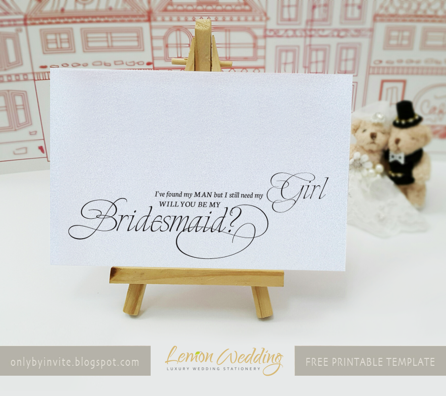 graphic relating to Printable Bridesmaid Cards known as Absolutely free printables for delighted situations : No cost printable