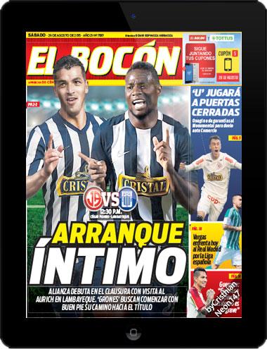 Diario El Bocón (29 Agosto 2015) ESPAÑOL - Arranque íntimo, Alianza debuta en el Clausura con visita al Aurich en Lambayeque