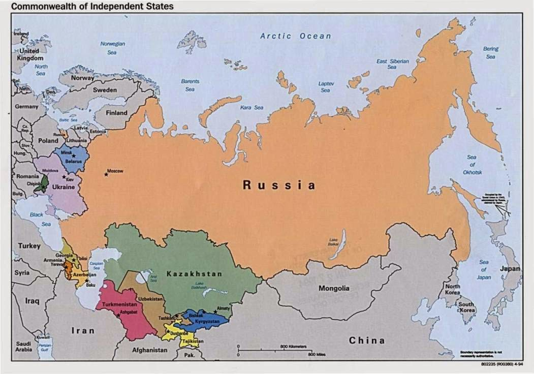 Map of Russia and the former Soviet states of the Commonwealth of Independent States.