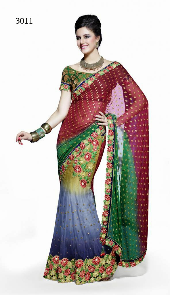 Letest Lengha type Saree-Online Shopping, Exclusive Designer Embroideries Resham Work Saree in Jaipur