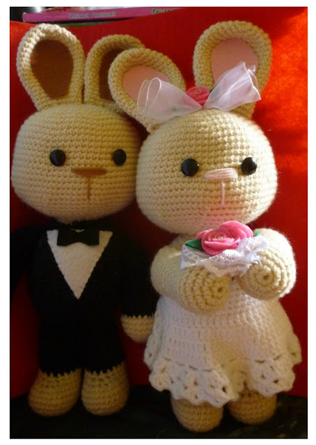 crochet amigurumi wedding bunny cute kawaii couple pattern idea car decoration