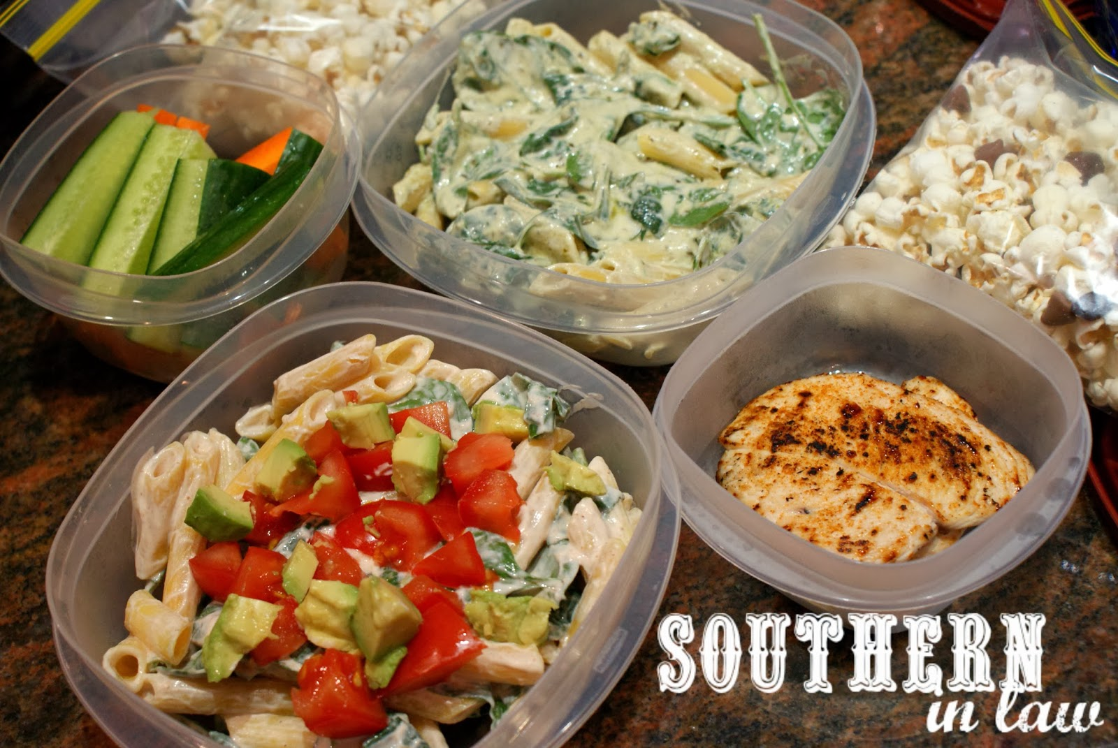 Picnic Date Night at the Sunset Cinema - Cold pasta salad, veggies and popcorn trail mix