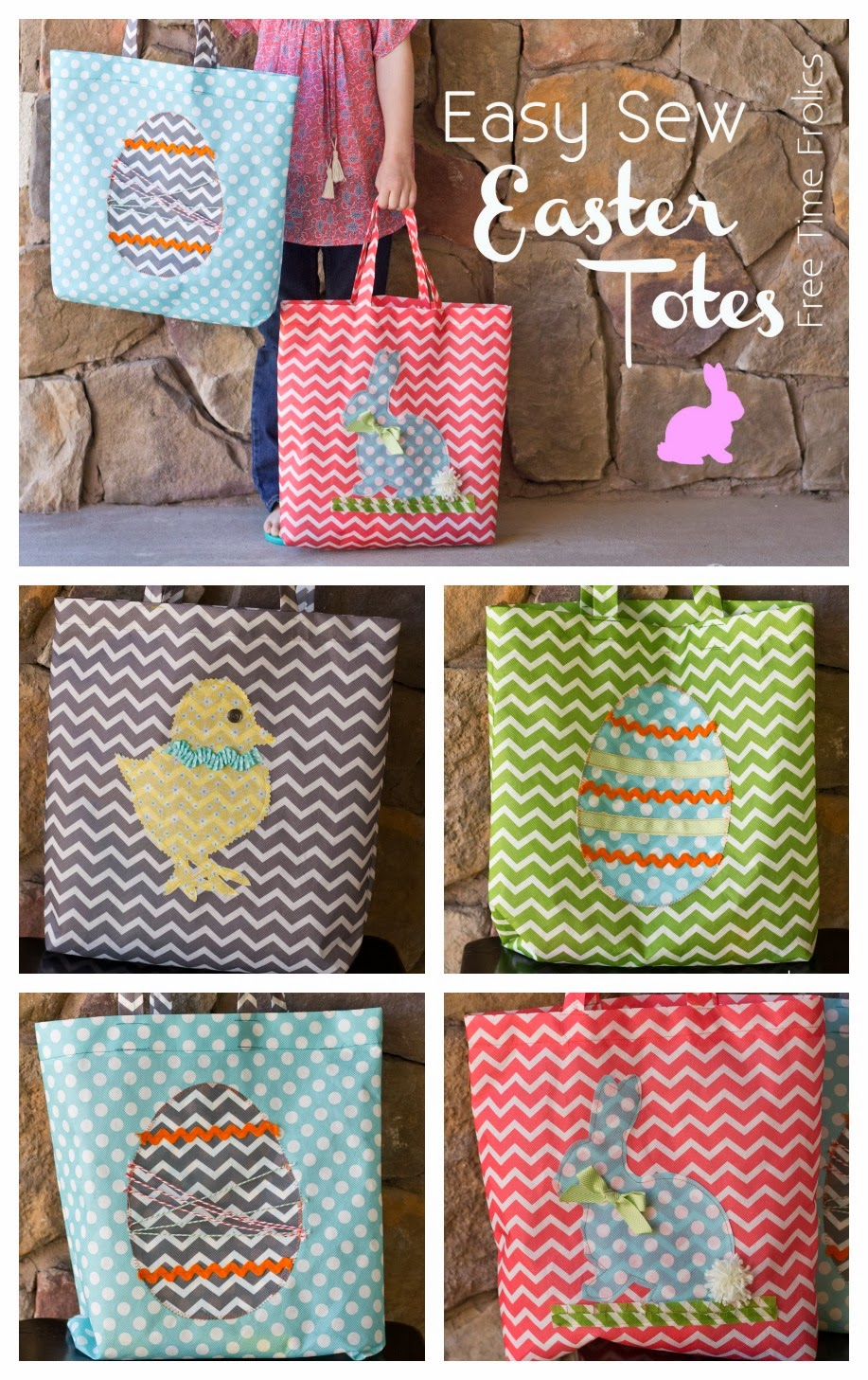Easy DIY Easter totes via www.freetimefrolics.com