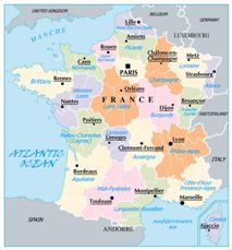 Map of France Political Geography Regions Province Cities