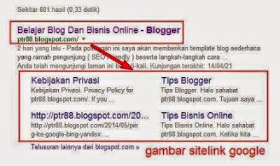 Gambar sitelink Blog di google penelusuran