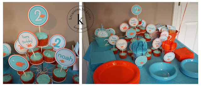 Fish-themed birthday party cupcake toppers | kreations by kristy