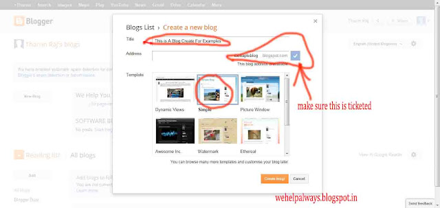 how to creat a new webiste in blogger